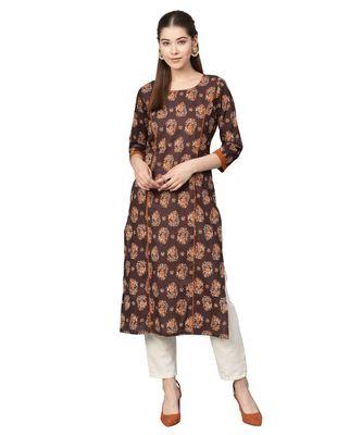 Brown Cotton Printed  Kurta