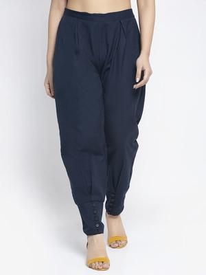 Navy-blue plain cotton trousers