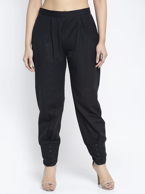 Black plain cotton trousers