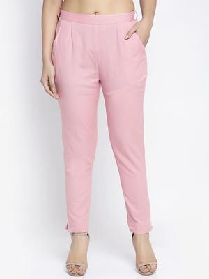 Pink plain cotton trousers