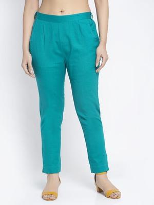 Sea-green plain cotton trousers