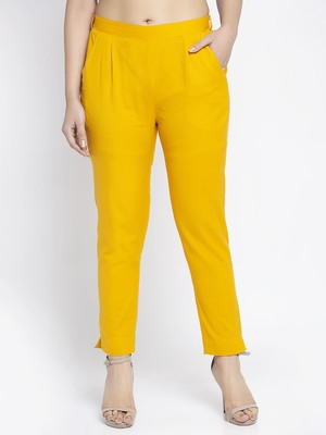 Mustard plain cotton trousers