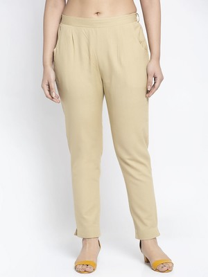 Beige plain cotton trousers
