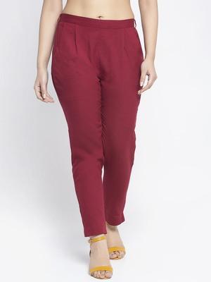 Maroon plain cotton trousers