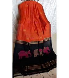 Orenge Zari Work Cotto Silk Elephant Handloom Saree With blouse piece