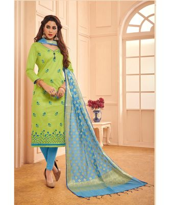 Sangam Prints Green Glace Cotton Embroidered Unstitched Dress Material