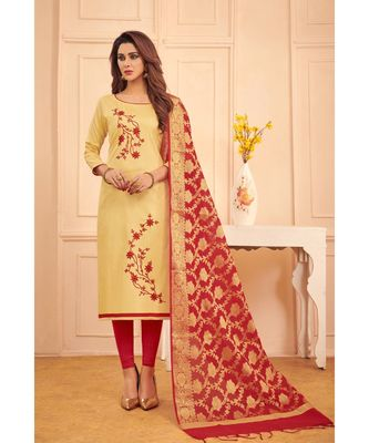 Sangam Prints Beige Glace Cotton Embroidered Unstitched Dress Material