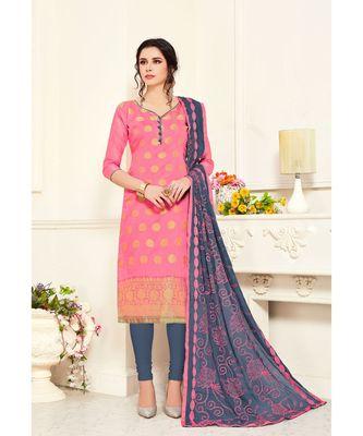 Sangam Prints Beige Banarasi Silk Woven Unstitched Dress Material