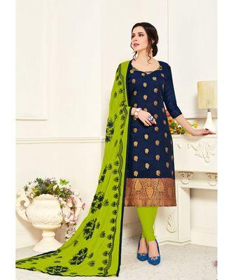 Sangam Prints Blue Banarasi Silk Woven Unstitched Dress Material