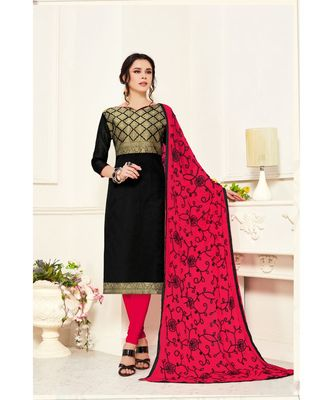 Sangam Prints Pink Banarasi Silk Woven Unstitched Dress Material