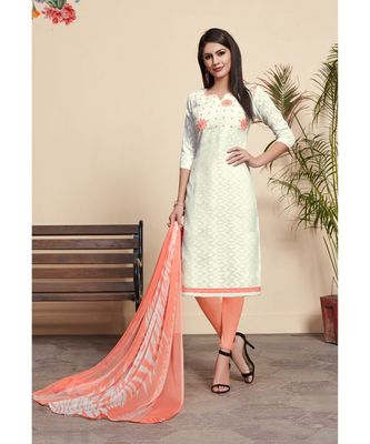 Sangam Prints White Cotton Jacquard Embrodiery Unstitched Dress Material