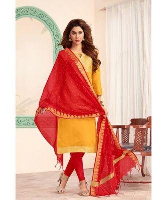 Sangam Prints Yellow Banarasi Silk Woven Unstitched Dress Material