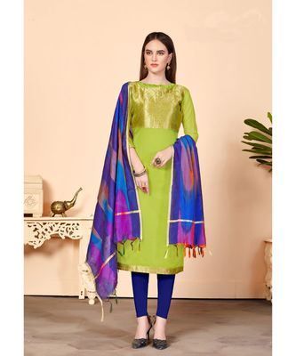 Sangam Prints Green Banarasi Silk Woven Unstitched Dress Material