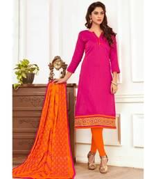 Sangam Prints Pink Slub Cotton Embrodiery Unstitched Dress Material