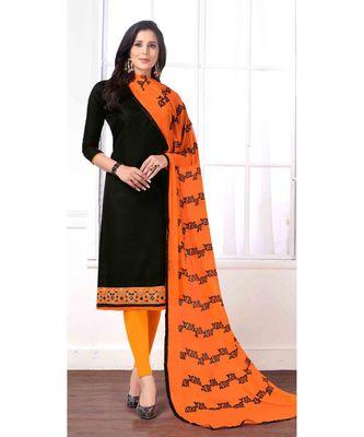Sangam Prints Black Cotton Butti Embrodiery Unstitched Dress Material