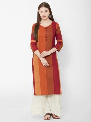 Os by Fourbuttons Women's Cotton Orange Kurta
