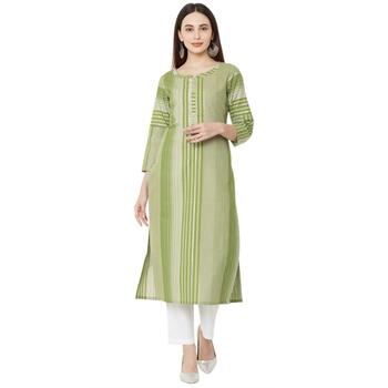 Os by Fourbuttons Women's Cotton Green Kurta
