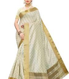 Heavy Zari Block Print with Broad Zari weaving Border Patta SAREE