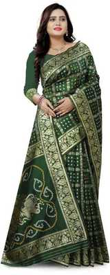 Heavy Art silk with Jeqard  zari Waving Bandhni design and amazing colour Extremely beautiful sarees