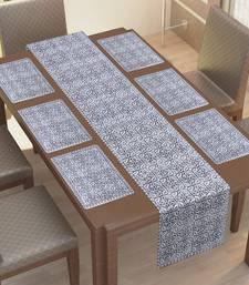 TEXSTYLERS 100% Cotton Jaipuri Block Printed 6 Table Mat and 1 Runner Set(Set of 7 Pc'es)