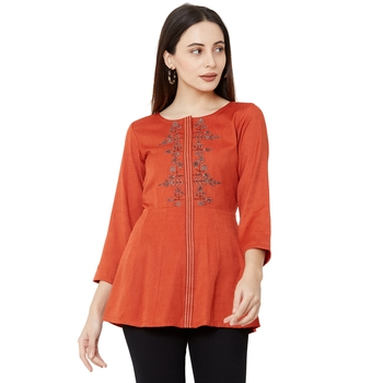 Os by Fourbuttons Women's Viscose Orange Tops