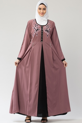 MRC Women Embroidered Shrug Style Abaya With Hijab