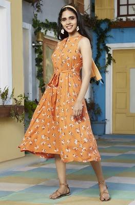 Orange printed rayon party-wear-kurtis