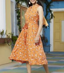 Orange printed rayon party-wear-kurtis