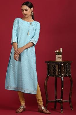 Turquoise printed crepe ethnic-kurtis