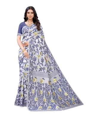 White woven poly cotton saree with blouse