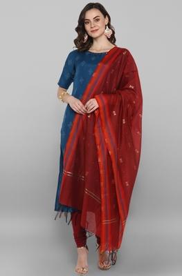 Teal printed polyester salwar