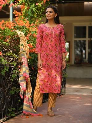 Pink Floral Printed Cotton Salwar Suit Set