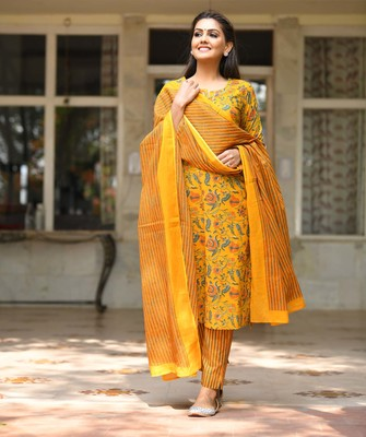Yellow Floral Printed Cotton Suit Set