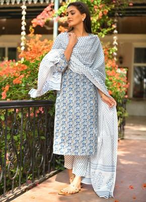 Floral Printed Cotton Suit Set