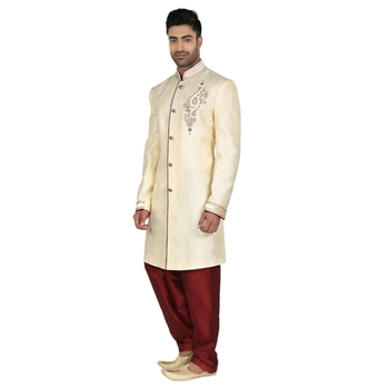 Cream Indowestern With Hand Embroidery Butta And On The Collar With Contrast Maroon Cord Piping