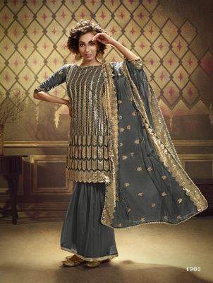 Grey sequins embroidered net sharara suit