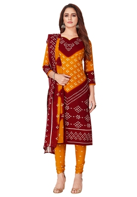 Salwar Studio Women's Orange & Maroon Synthetic Printed Unstitch Dress Material with Dupatta