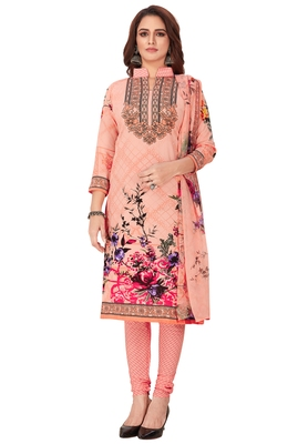 Salwar Studio Women's Light Pink & Pink Synthetic Printed Unstitch Dress Material with Dupatta