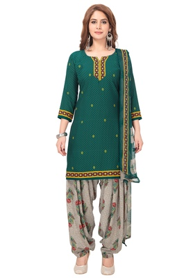 Salwar Studio Women's Green & Grey Synthetic Printed Unstitch Dress Material with Dupatta