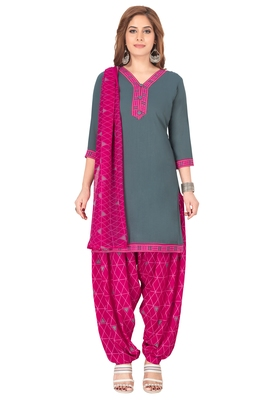 Salwar Studio Women's Grey & Pink Synthetic Printed Unstitch Dress Material with Dupatta