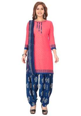 Salwar Studio Women's Pink & Blue Synthetic Printed Unstitch Dress Material with Dupatta