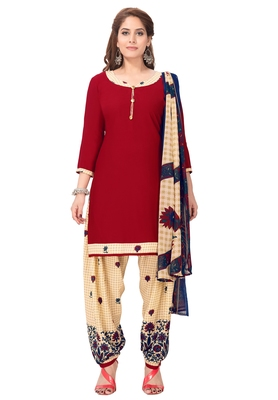 Salwar Studio Women's Red & Beige Synthetic Printed Unstitch Dress Material with Dupatta