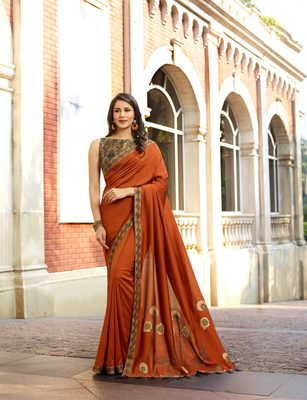 Dark copper embroidered silk saree with blouse
