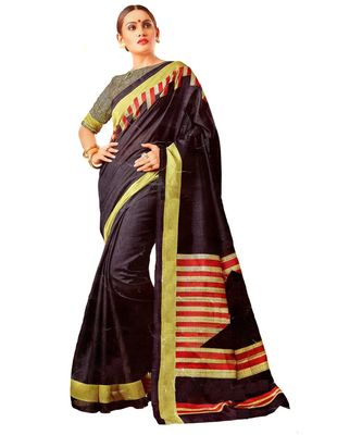 MAHATI black raw_silk printed matka_silk sarees with double blouse
