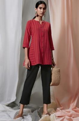 Red woven cotton tunics