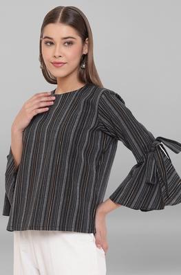 Black woven cotton tunics