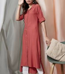 Orange woven rayon ethnic-kurtis