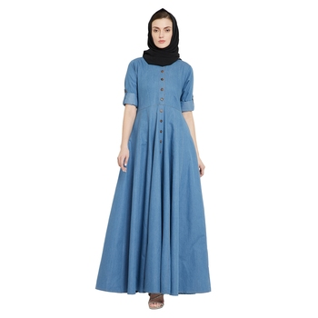 Blue plain denim abaya
