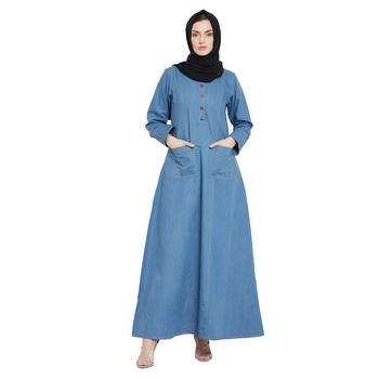 Blue plain denim abaya