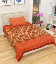 Jaipuri Cotton Single Bedsheet with 1 Pillow Cover-Orange
